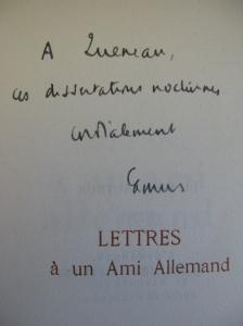 Lettres a un ami allemand (dedication)