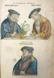 The book artists. From De historia stirpium commentarii insignes. Classmark: Sel.2.81