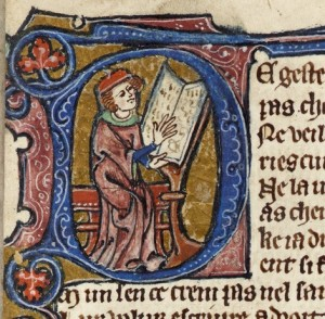 Ralph of Linham writing his Comput (CUL MS Gg.1.1, f. 8r)