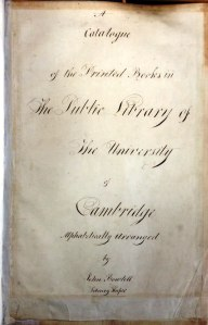 Title page of the UL's early catalogue of printed books