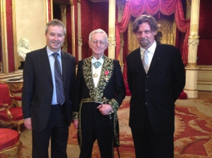 The Master of Christ's College, Sir Michael Edwards and Andrew Todd (Chevalier des Artes et des Lettres) at a reception at the British Embassy in Paris. By permission of the Master of Christ's College.
