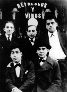 A young Luis Buñuel (top right) with friends, including Federico García Lorca (bottom right), Madrid, 1923. ((source))