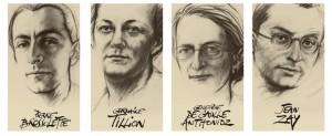 Portraits of the four people interned at the Panthéon. Image: Ernest Pignon-Ernest ©Centre des monuments nationaux, Paris 2015
