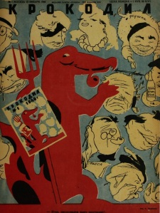 Front cover of the 1/1946 issue of 'Krokodil', showing the eponymous crocodile.
