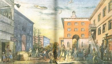 A WW2-era illustration of a air-raid alarm practice.