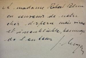 Handwritten dedication
