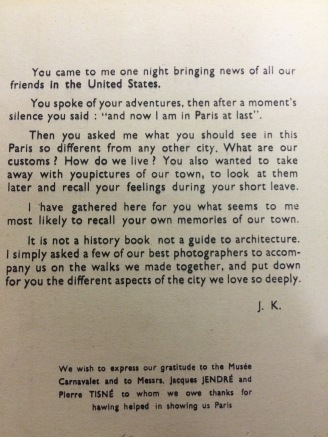 Addressed to American soldiers in Paris, one of the first pages of The Paris I saw (Liberation.b.75)