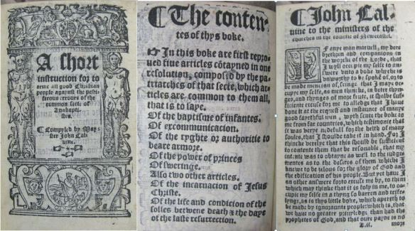 """Title page and first two pages of Calvin's """"chort instruction..."""" (Syn.8.54.158)"""