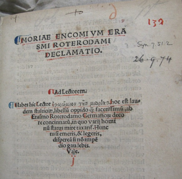 Title page of Moriae Encomium (Syn.7.51.2)