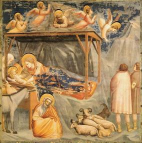 Giotto's Nativity scene at the Arena Chapel in Padua (Public domain, via Wikimedia Commons)