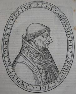 Portrait of Cisneros from De rebus gestis a Francisco Ximenio, Cisnerio, archiepiscopo Toletano, libri octo (F156.b.8.2)