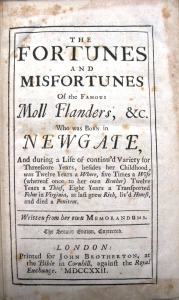Title page of 1722 edition of Moll Flanders in the UL