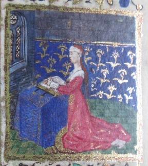 Detail of girl kneeling in prayer