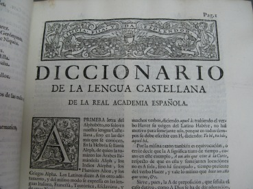 P. 1 of the Diccionario de autoridades with the RAE's motto at the top (Hisp.3.72.1)
