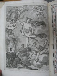 Frontispiece by Antonio Palomino with: Mercury in the centre, symbol of eloquence; King Felipe V in the top left; a burning crucible with the RAE's motto surrounded by books, at the bottom left; and the allegorical figures of Grammar, Poetry and Rhetoric at the bottom right (v. 1).