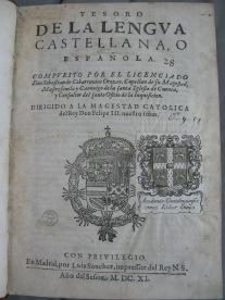 Title page of Covarrubias' Tesoro (O*.9.17(C))