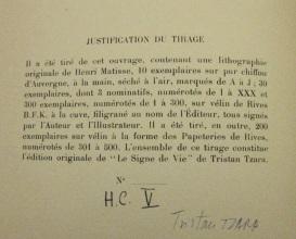 Tirage description, with Tzara's signature
