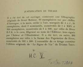Tirage description, with Tzara's signature