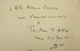 Dedication to Kernn-Larsen from Tzara